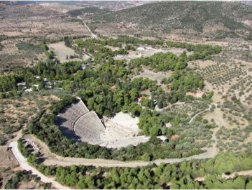 Αεροφωτογραφία του Ασκληπιείου της Επιδαύρου.
