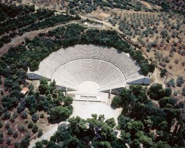 Αεροφωτογραφία του θεάτρου.