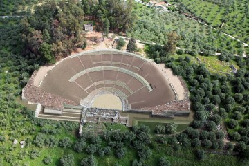 A 3D reconstruction of the ancient theatre of Sparta after the planned restoration works.
