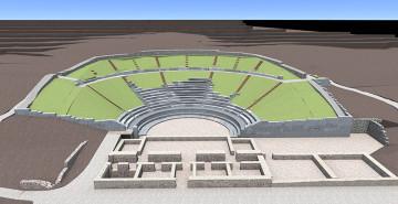 Τρισδιάστατη απεικόνιση του θεάτρου από την εκδήλωση ''Κρυμμένα κοχύλια :Aρχαίο θέατρο Φθιωτίδων Θηβών''.