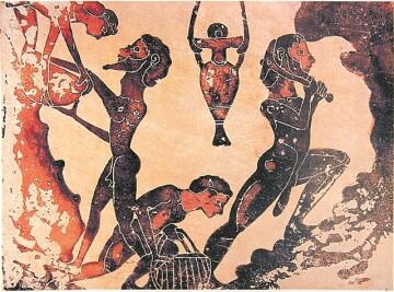 Απεικόνιση δούλων σε μεταλλείο (πιθανότατα λήψη πηλού) σε μία από τις πλάκες τερακότας (630 - 610 π.Χ.) από την Πεντεσκούφια Κορινθίας (σήμερα στο Μουσείο Περγάμου) - TA NEA