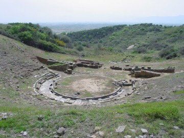 Ancient Theatre of Stratos. View of the orchestra and seats from the NW.