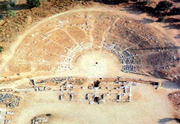 Αεροφωτογραφία του αρχαίου θεάτρου της Ερέτριας