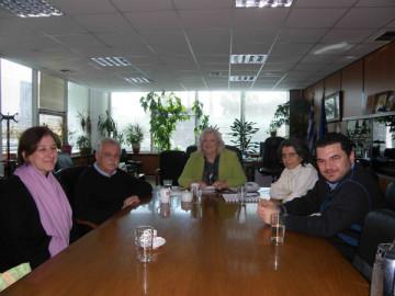 Συνάντηση εργασίας στην Περιφερειακή ενότητα Δυτικής Αττικής για την ανάδειξη του Τελεστηρίου της Ελευσίνας, από αριστερά διακρίνονται οι κ.κ. : Λιάνα Χλέπα, αρχιτέκτων, Σταύρος Μπένος πρόεδρος του Σωματείου ΔΙΑΖΩΜΑ, Σταυρούλα Δήμου, αντιπεριφερειάρχης Περιφερειακής Ενότητας Δυτικής Αττικής, Καλλιόπη Παπαγγελή, αρχαιολόγος, Κώστας Μήτσης ειδικός σύμβουλος της αντιπεριφερειάρχη 27-01-2012).