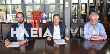 Ο δήμαρχος Αρχαίας Ολυμπίας, κ.  Γιώργος Γεωργιόπουλος με τον περιφερειάρχη Δυτικής Ελλάδας, κ. Νεκτάριο Φαρμάκη και τον ιδρυτή του «ΔΙΑΖΩΜΑΤΟΣ», κ. Σταύρο Μπένο