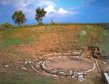 Αρχαίο Θέατρο Στράτου. Άποψη του θεάτρου από Δ.