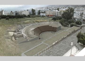 Η πρόταση αποκατάστασης του θεάτρου που βρίσκεται στον Λιμένα Χερσονήσου του νομού Ηρακλείου (Υπεύθυνος Μελέτης, κ. Νίκος Χατζηδάκης, πηγή:   ΑΠΟΚΑΤΑΣΤΑΣΗ & ΕΠΑΝΑΧΡΗΣΗ ΑΡΧΑΙΟΥ ΘΕΑΤΡΟΥ ΧΕΡΣΟΝΗΣΟΥ, ΝΟΜΟΣ ΗΡΑΚΛΕΙΟΥ, ΚΡΗΤΗ, ΕΛΛΑΔΑ).
